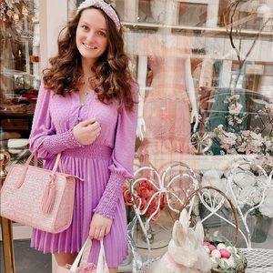 Zara Pleated Dotted Mesh Dress
